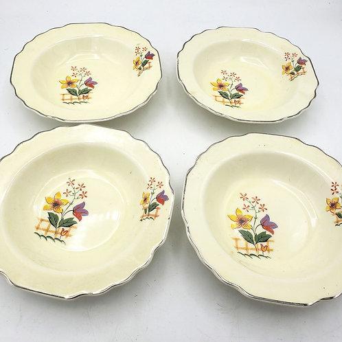 "Vintage Art Deco Lido W.S. George Canarytone Blossoms Dessert Bowls 6"" Set of 4"