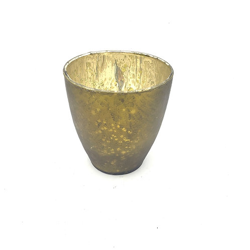 Glass Olive Colored Tealight Candle Holder