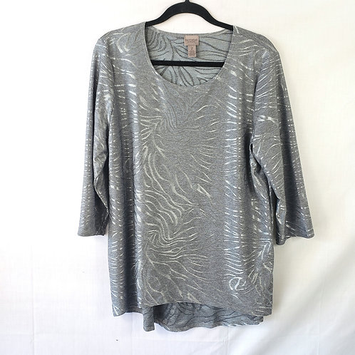 Easywear by Chico's Metallic Hi-Low Tiger Stripe Top - size 2