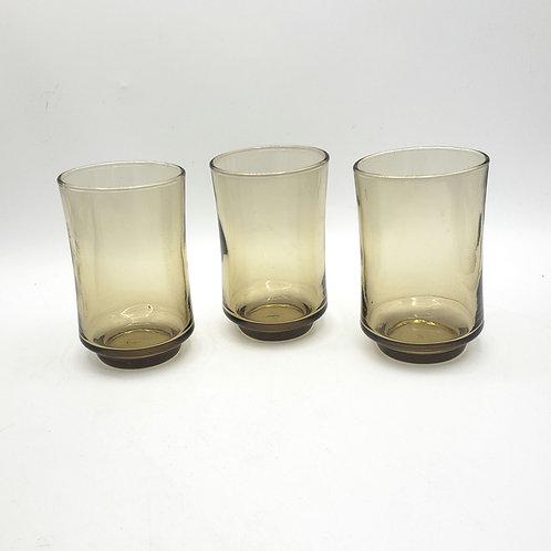 Vintage Amber Libby Juice Glasses Set of 3