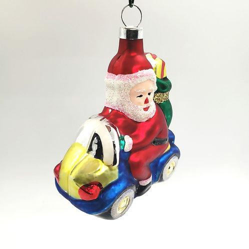 Glass Santa Car Delivery Ornament