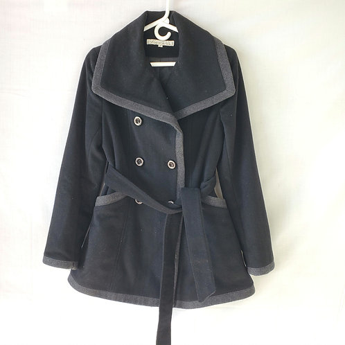 Kenneth Cole Black Wool Blend Coat with Wide Collar - size 6