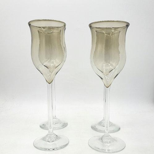 "Handblown Glassware Set of 4 Signed ""read description"