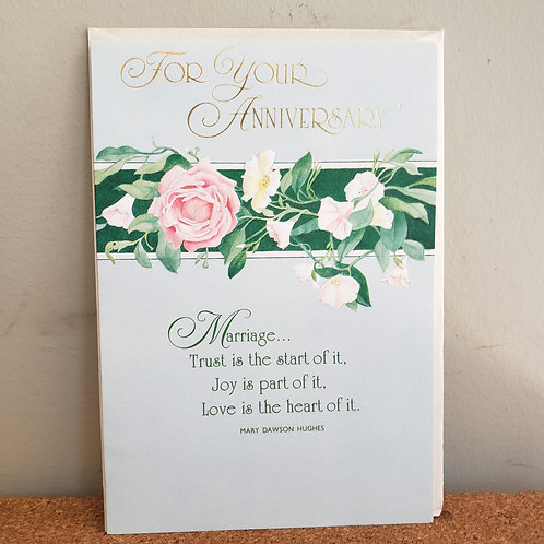 """Carlton """"For Your Anniversary""""Marriage Card with Envelope"""
