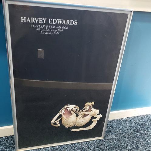 "Vintage Harvey Edwards 1979 Show ""Ballet Slippers"" Poster Chrome Framed 27""x38"""