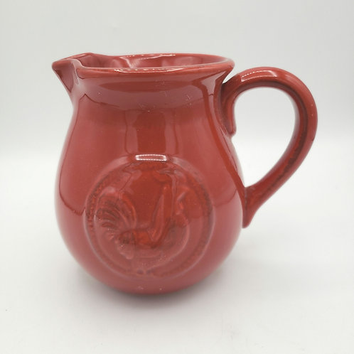 Home Essentials and Beyond Small Red Ceramic Pitcher