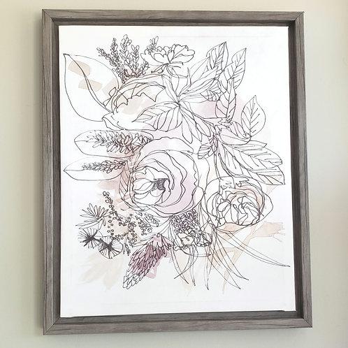 "Floral Canvas Print on Wood Frame 18""×22"""