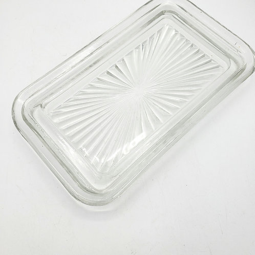 "Vintage Starburst Pattern Glass Dish 4""x6.5"""