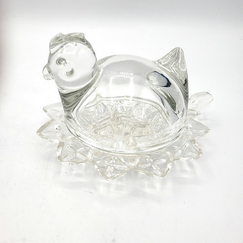 Glass Hen Trinket Dish With Lid