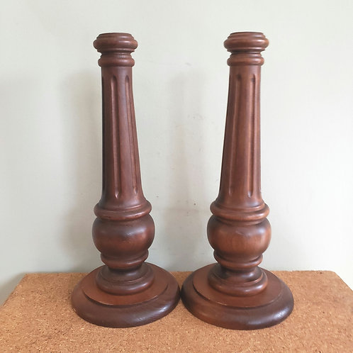 """Wooden Candle Holders 13"""" Set of 2(small chip at base)"""