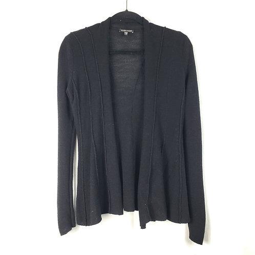 Eileen Fisher Black Wool Rib Knit Cardigan - XXS