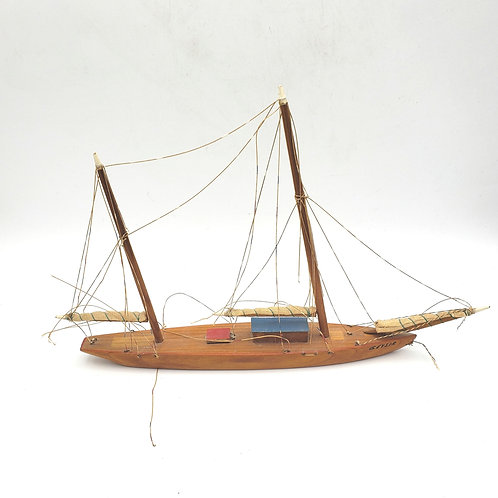 Vintage Handmade Wooden Model Ship As Is