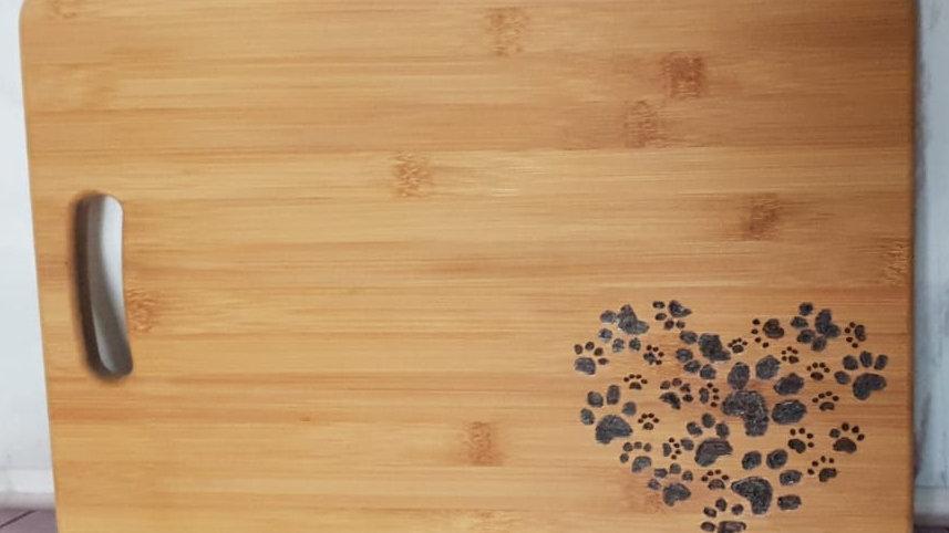 Heart pawprint wooden chopping board