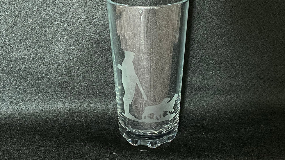 Hi-Ball Glass with Etched Man With Dogs