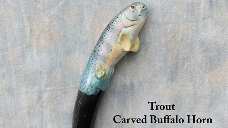 Stick 8 - Trout carved buffalo horn