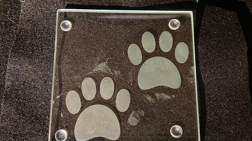 Pawprint Glass Coaster