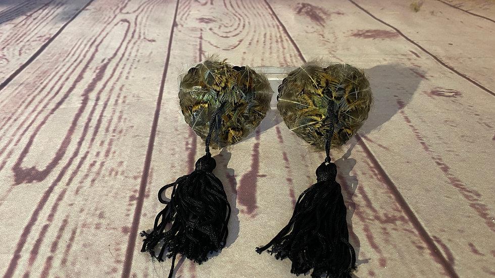 K feather nipple tassels