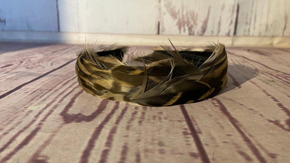 Brown Mallard feather hair band