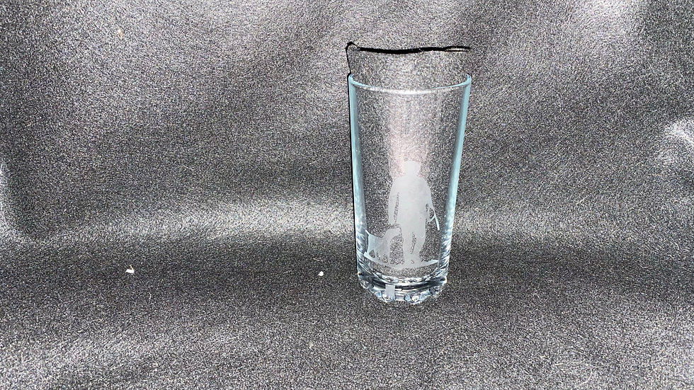 Etched Man And Dog Hi-Ball Glass