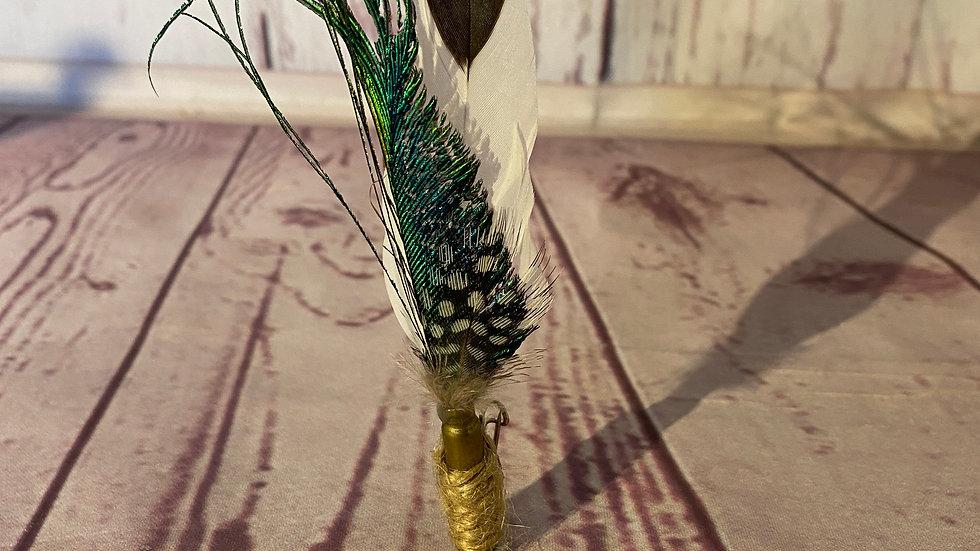 SIlver Spangled Hamburg and Peacock . 22 rifle pin