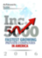 Winner of 2016's fastest growing company for Inc. 5000