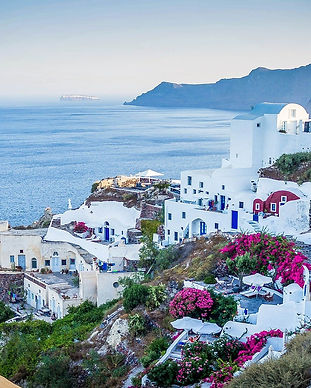 Village of Oia in Santorini, Greece. White buildings set along the coast, cliffs in the backgrond. Pink flowers an green bushes in the foreground.