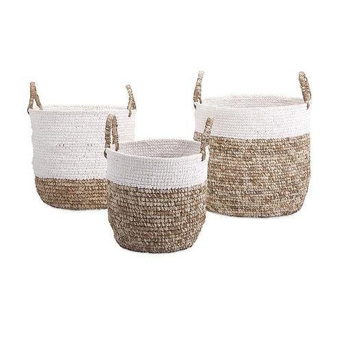 Shoelace & Raffia Woven Baskets
