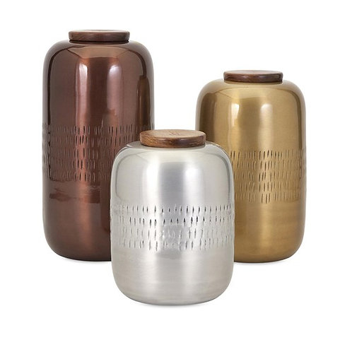 Aluminum Lidded Vessels-Set of 3