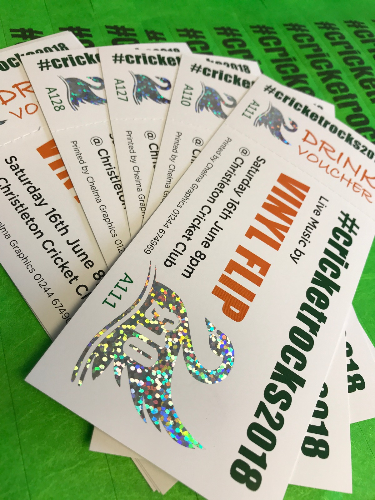 Cricket Tickets with some glittery flair, printed for Christleton Cricket Club