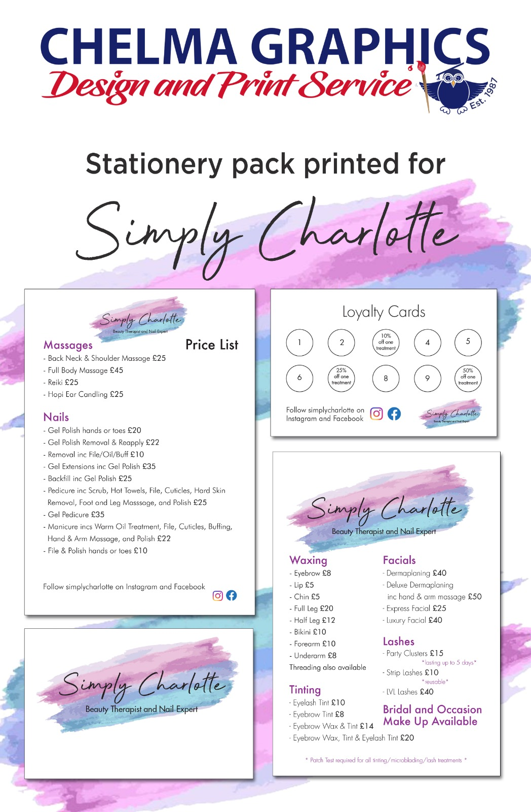 Here is an example of a Stationery Pack we created and printed for Simply Charlotte
