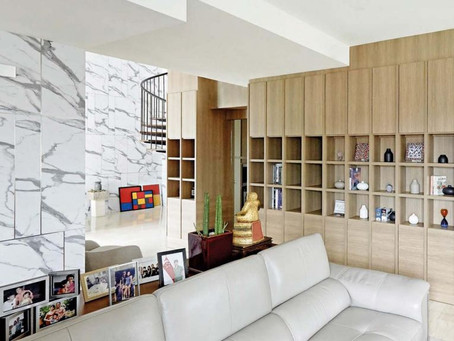 The Chic Home: Soaring 'Marble' Walls In Two-Storey Sembawang Penthouse