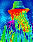 His Long Hair & Hat-Wild Color