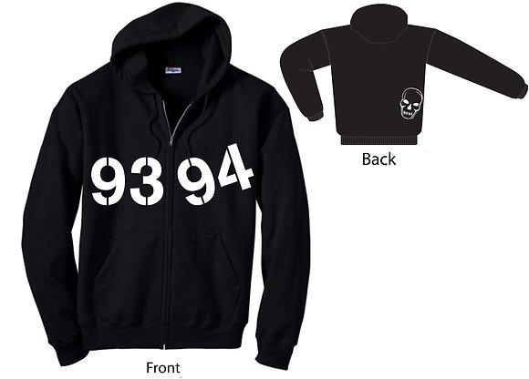 Basic 9394 Zip Hoodie w/Skull - Black