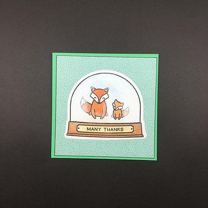 """Karte """"Schneekugel Fuchs"""" 1"""