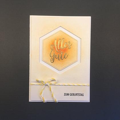 "DIY Geburtstags-Karte A6 ""Alles Gute zum Geburtstag"" Orange"