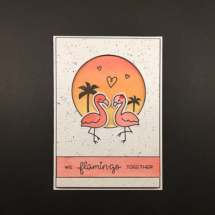 "Karte ""We flamingo together"""