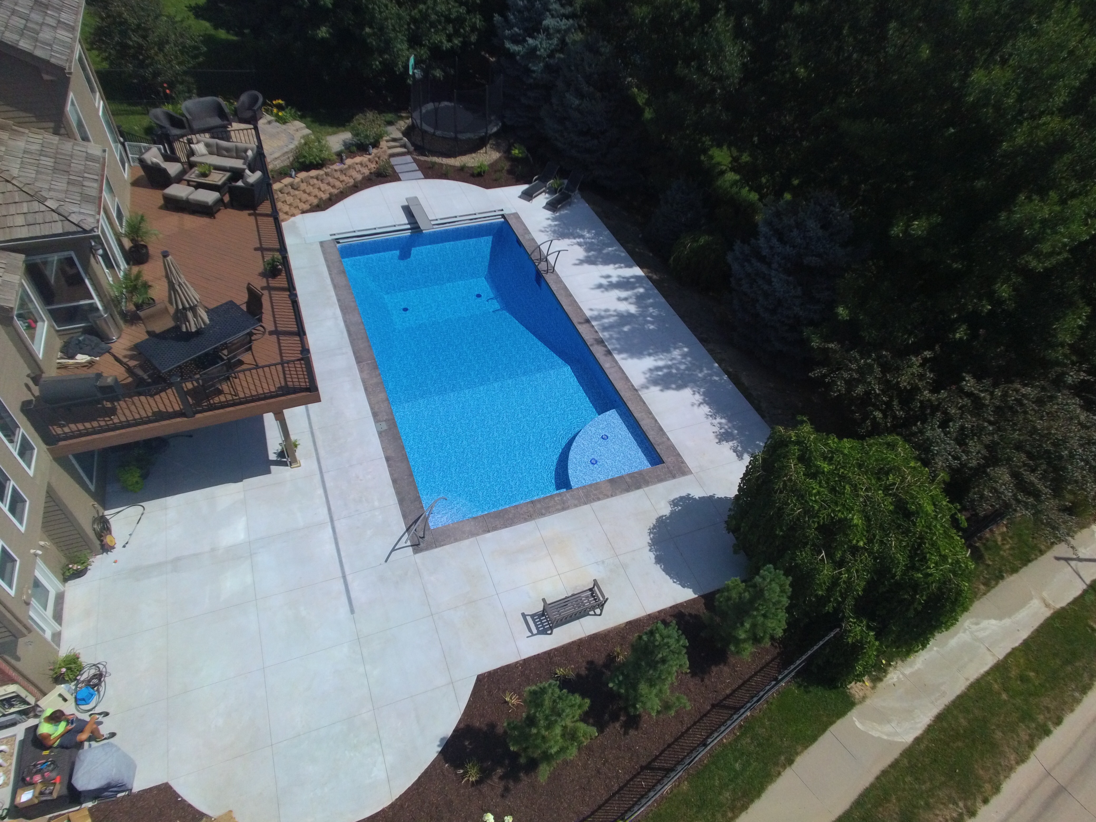 Pool Deck with Stamp & Color Border