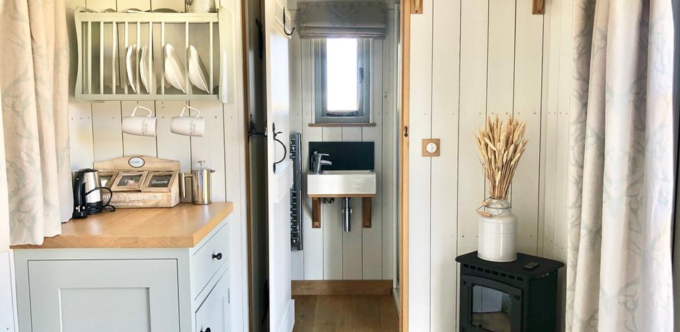 The kitchen & log burner, Shepherd's Hut