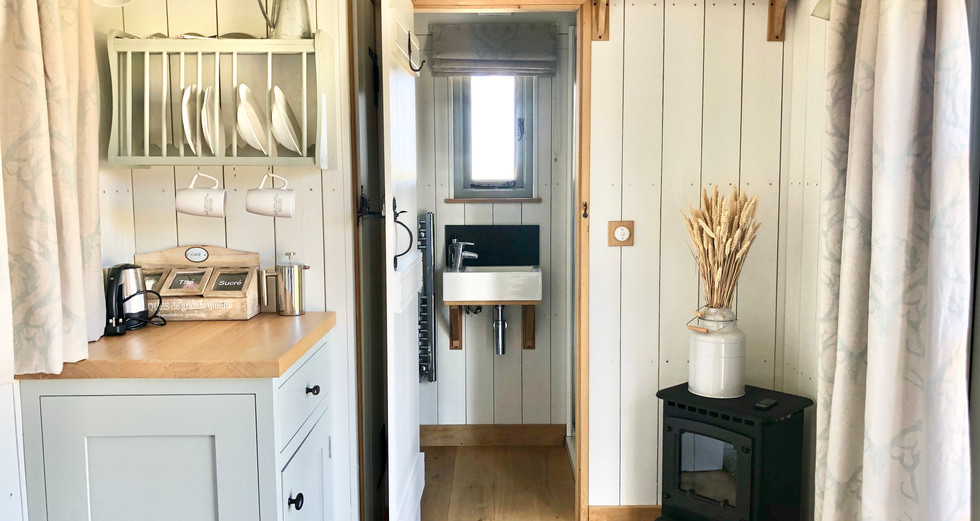 The kitchen & log burner, Shepherd's Hut