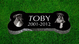 Dog Bone shapped grave marker granite stone by petstonesusa.com