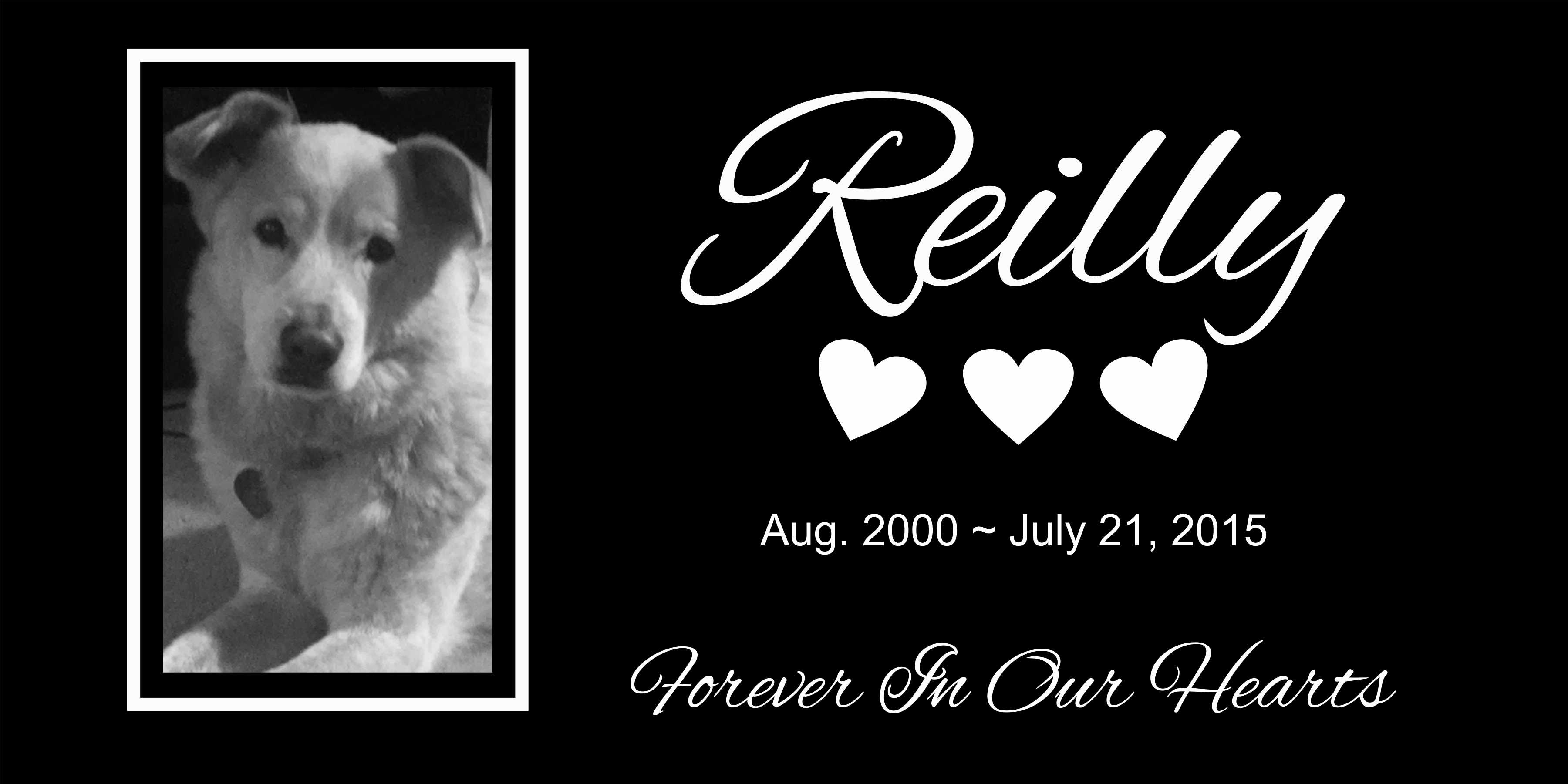 Reilly pet grave marker