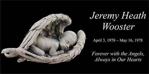 Baby angel with wings  Memorial Stone 6x12 Black Granite