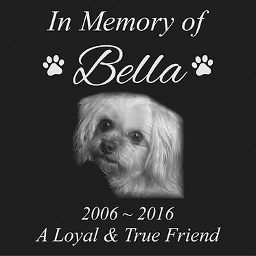 12x12 Black Granite Pet or Human memorial stone