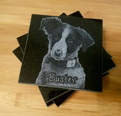 Black Granite Pet Coasters Laser Engraved