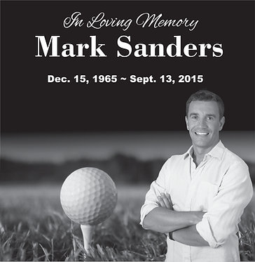 12x12 Black Granite Human Memorial Stone Golf Theme