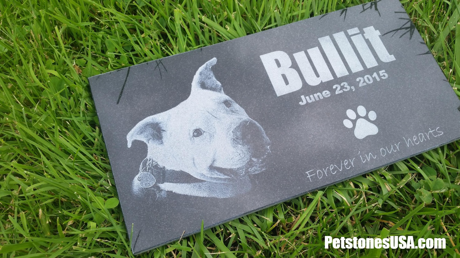 Pitbull dog memorial grave marker
