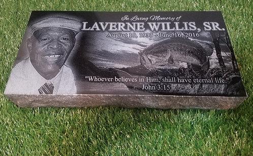16x8x2 Black Granite Grave marker Stone