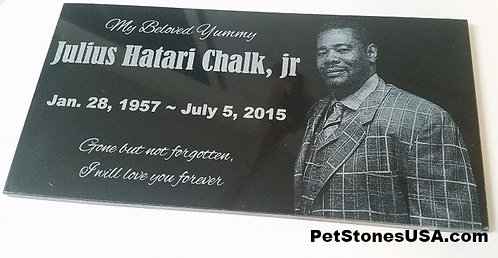 Human Memorial Stone 6x12 Black Granite
