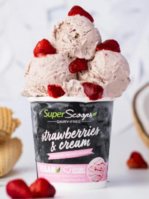 Strawberries and Cream Vegan Ice Cream Mini Cup