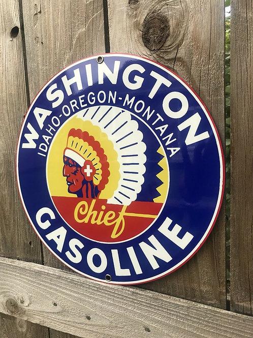 Washington Idaho Oregon Montana Chief Gasoline Vintage Sign
